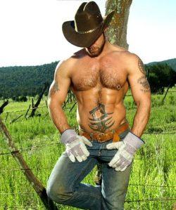 Tatooed&pierced cowboy model